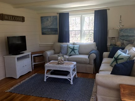 West Yarmouth Cape Cod vacation rental - Comfy beachy feeling living room, books, 2nd tv, comfort