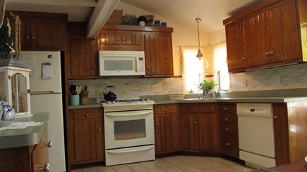West Yarmouth Cape Cod vacation rental - large kitchen, seating for 10, highchair, dishes, cookware