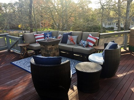 West Yarmouth Cape Cod vacation rental - Propane fire ambiance for evenings on deck, comfy seating