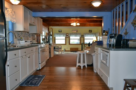 Dennisport Cape Cod vacation rental - Kitchen and living room.