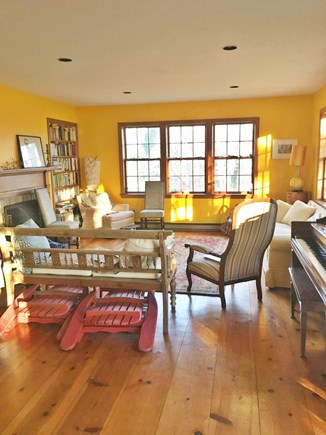 Truro Cape Cod vacation rental - Living room in winter (folding deck chairs on the floor)