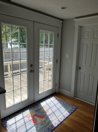 Dennisport Cape Cod vacation rental - French doors to deck.