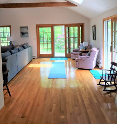 North Eastham, bayside Cape Cod vacation rental - Additional seating area and large open space for kids to play.