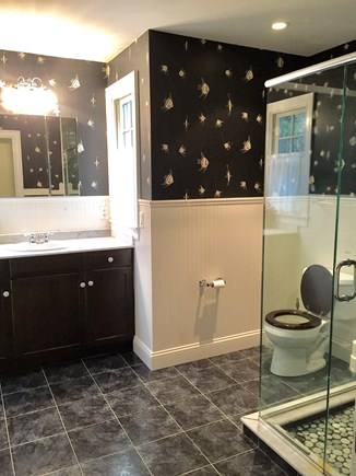 Eastham Cape Cod vacation rental - Hall bathroom with a recessed vanity.