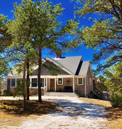 Eastham Cape Cod vacation rental - Beautiful home front porch and circular shell driveway.