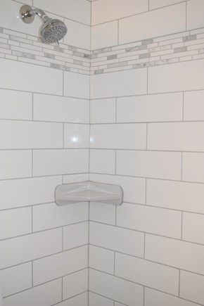 Falmouth Cape Cod vacation rental - Subway tiled indoor shower, separate outside shower