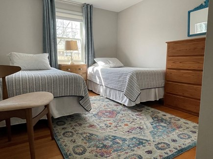 Falmouth Cape Cod vacation rental - Bedroom #3: Two single beds, closet, a/c, fan