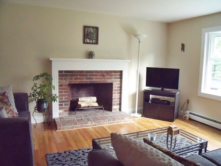 Brewster Cape Cod vacation rental - Living Room with bright bay window, HD flat screen satellite TV