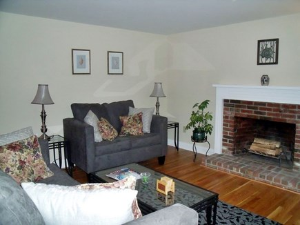 Brewster Cape Cod vacation rental - Living room has fireplace