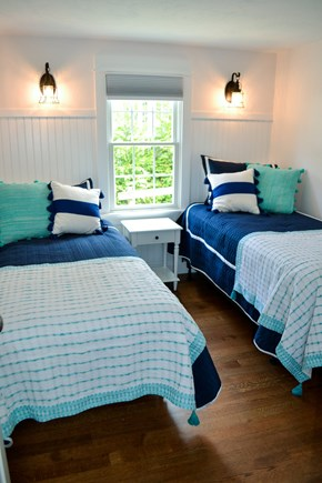 Mashpee, Popponesset Cape Cod vacation rental - 1st bedroom with 2 twin beds and closet (sleeps 2).