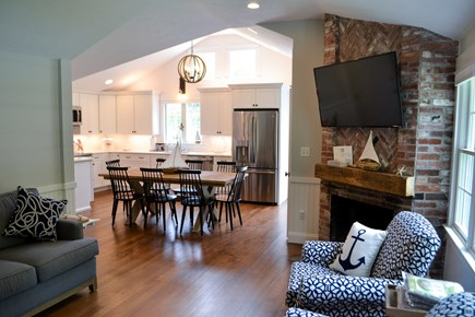 Mashpee, Popponesset Cape Cod vacation rental - Living room flows into kitchen for easy entertaining.