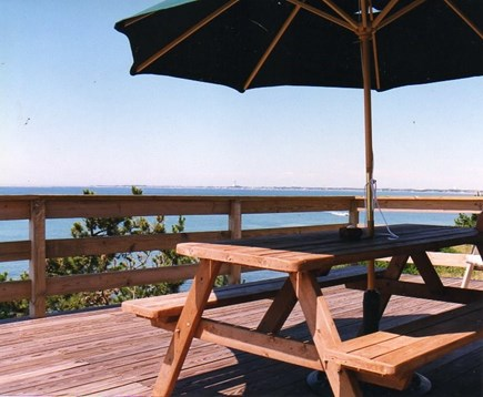 Truro Cape Cod vacation rental - Deck with gas grill, picnic table , large umbrella and lounges