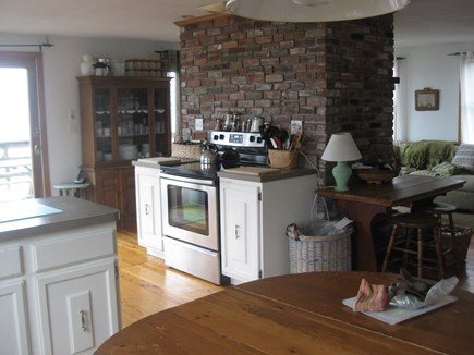 Truro Cape Cod vacation rental - Stove in back of  the  fireplace