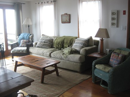 Truro Cape Cod vacation rental - Living room. there is also a downstairs tv area and couch