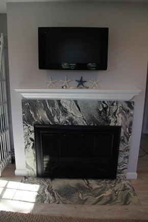 Brewster Cape Cod vacation rental - Marble Hearth and Mantle Surrounds Gas Fireplace