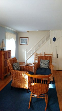 Yarmouth Port Cape Cod vacation rental - Living room and stairs to second floor