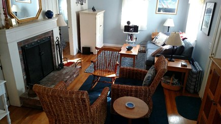 Yarmouth Port Cape Cod vacation rental - Living room with wood burning fireplace