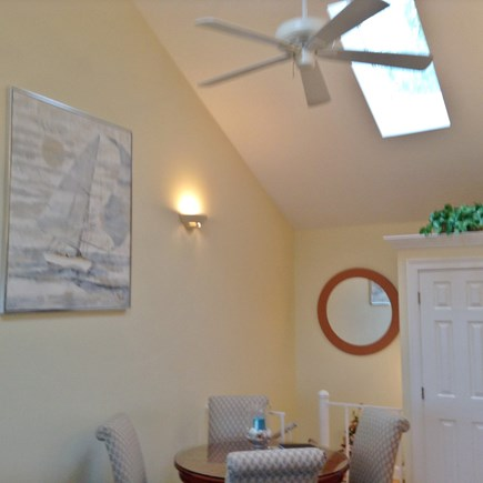 South Yarmouth Cape Cod vacation rental - Dining area with cathedral ceiling, skylights & ceiling fan