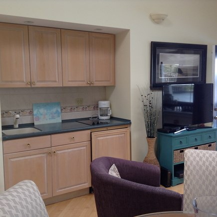 South Yarmouth Cape Cod vacation rental - Kitchenette with 2 burner cooktop, mini fridge & microwave