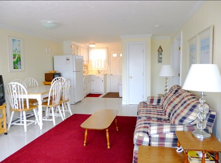 West Dennis Cape Cod vacation rental - View from the front door of living/dining area w/ kitchen beyond
