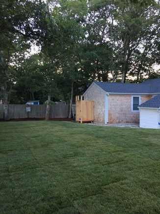 West Yarmouth Cape Cod vacation rental - Large backyard with outdoor shower