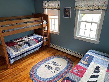 South Yarmouth Cape Cod vacation rental - Second bedroom with bunk beds and a twin bed.  Cable HDTV