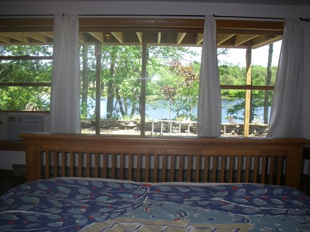 Brewster Cape Cod vacation rental - View of pond from downstairs, queen bedroom.