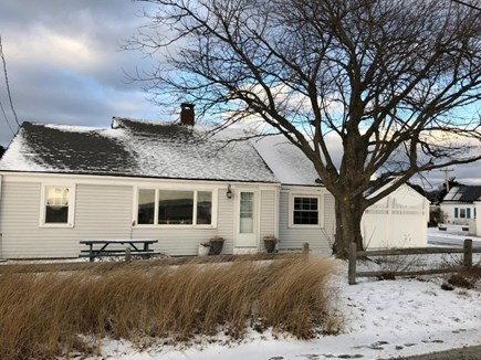 Wellfleet Cape Cod vacation rental - Winter view of house with side courtyard.