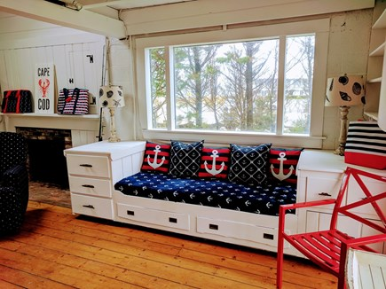 Falmouth Cape Cod vacation rental - Built-in seat in living area.