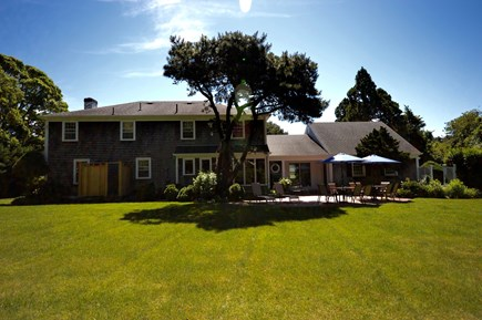 Orleans Cape Cod vacation rental - Spacious back yard with outdoor shower, large level yard and pati