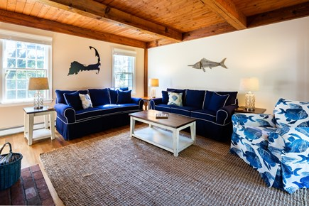 Orleans Cape Cod vacation rental - Den with sliders to the backyard and flat screen TV