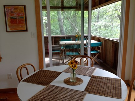 Wellfleet Cape Cod vacation rental - Dining area with view of screened in porch