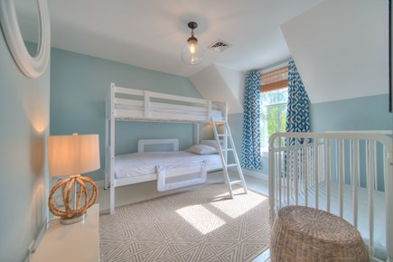 Harwich Port Cape Cod vacation rental - Upstairs guest bed with twin bunk beds