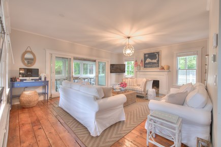Harwich Port Cape Cod vacation rental - Living room w two full size couches, love seat, iMac