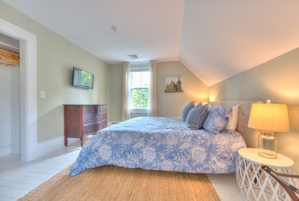 Harwich Port Cape Cod vacation rental - Upstairs guest king bed with central AC and TV