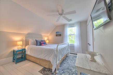 Harwich Port Cape Cod vacation rental - Upstairs guest queen bed with central AC and TV