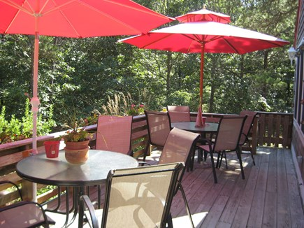 Eastham Cape Cod vacation rental - The main deck has plenty of seating, shade and a gas grill.