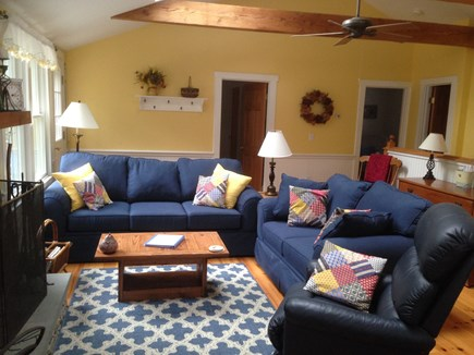 Eastham Cape Cod vacation rental - Living Room with fireplace. Doors to Bedrooms and bath.