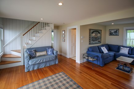 South Chatham Cape Cod vacation rental - First floor showing the living room, hallway, bathroom entrance
