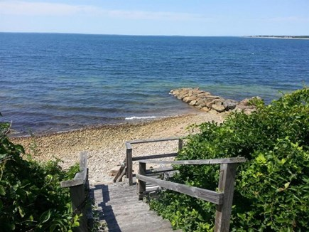 Falmouth Cape Cod vacation rental - Stairs from backyard to own beach
