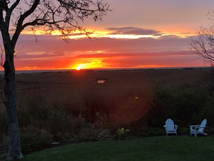 Orleans Cape Cod vacation rental - View & Yard & Sunset from Rear Deck (Fall)