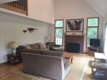 Wellfleet Cape Cod vacation rental - Living room showing cathedral ceiling with overlook