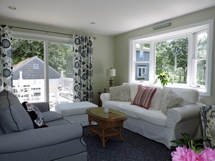 Falmouth, Teaticket Cape Cod vacation rental - Lovely Sitting area with sliding doors to the deck