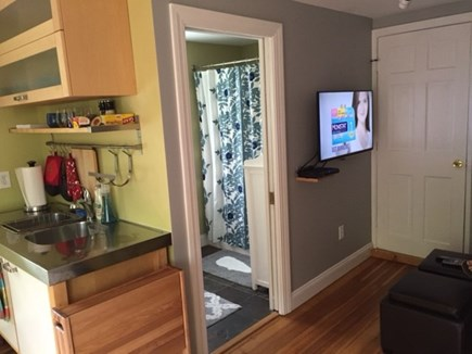 provincetown Cape Cod vacation rental - Living room w/ view to bathroom.  wall-mounted Smart-TV (cable)