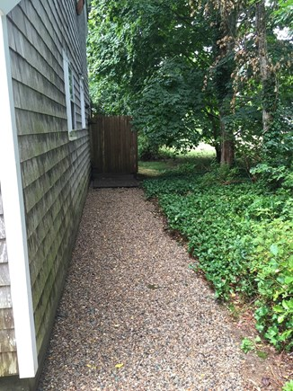 Eastham Cape Cod vacation rental - Pea-stone path to outdoor shower.