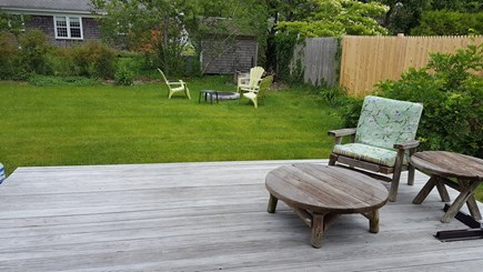 West Dennis Cape Cod vacation rental - Deck overlooking yard and firepit. Perfect for afternoon relaxing