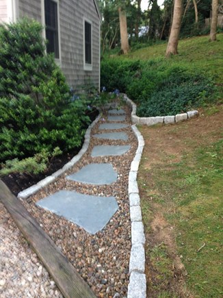 Eastham Cape Cod vacation rental - Bluestone walkway from the driveway to side yard.