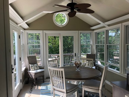 Eastham Cape Cod vacation rental - Sunroom with french entry doors and windows all around.