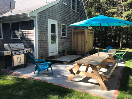 West Yarmouth Cape Cod vacation rental - Backyard with stainless grill and outdoor shower