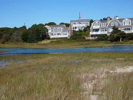 Chatham Cape Cod vacation rental - View of home from Ridgevale Beach (see red arrow)